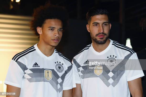 Leroy Sane and Emre Can attend the presentation of the new adidas Germany kit for the 2018 FIFA World Cup Russia at The Base on November 7 2017 in...