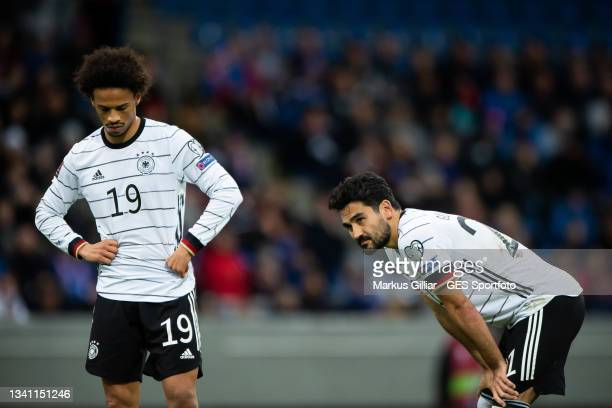 Leroy Sane and Ilkay Guendogan of Germany looks dejected during the 2022 FIFA World Cup Qualifier match between Iceland and Germany at on September...