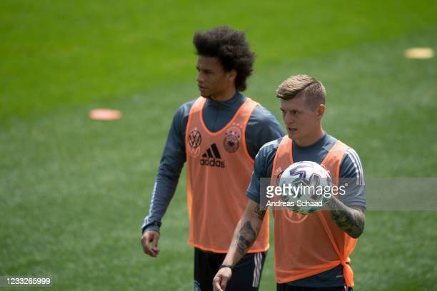 Leroy Sane and Toni Kroos during Day 8 of the Germany training camp ahead of the UEFA EURO 2020 on June 04, 2021 in Seefeld in Tirol, Austria.