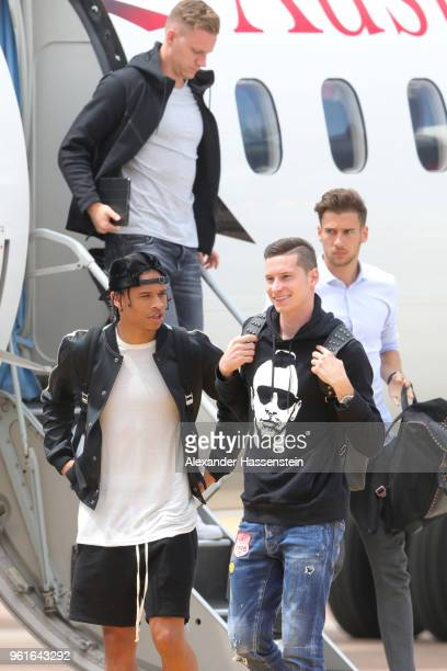 Leroy Sane Bernd Leno Julian Draxler and Leon Goretzka arrive with the German National team at Bolzano Airport for the Southern Tyrol Training Camp...