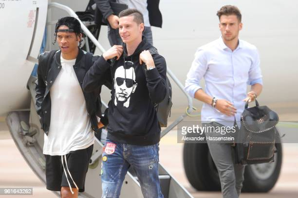 Leroy Sane Julian Draxler and Leon Goretzka arrive with the German National team at Bolzano Airport for the Southern Tyrol Training Camp ahead of the...