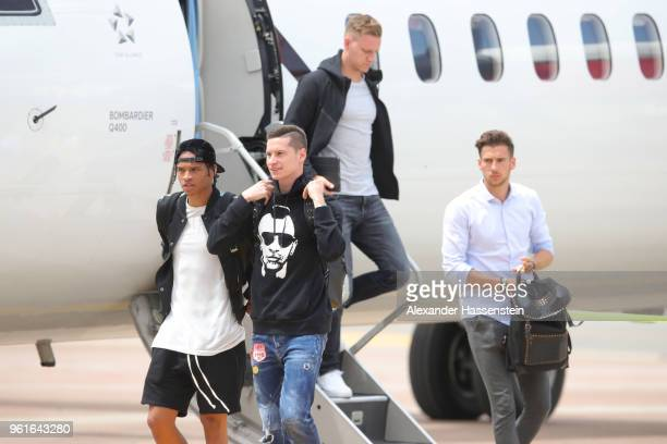 Leroy Sane Julian Draxler Bernd Leno and Leon Goretzka arrive with the German National team at Bolzano Airport for the Southern Tyrol Training Camp...