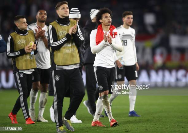 Leroy Sane Nilas Stark and team mates of Germany react after the International Friendly match between Germany and Serbia at Volkswagen Arena on March...