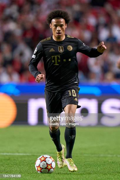 Leroy Sane of Bayern München in action during the UEFA Champions League group E match between SL Benfica and Bayern München at Estadio da Luz on...