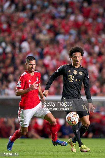 Leroy Sane of Bayern München is challenged by Julian Weigl of SL Benfica during the UEFA Champions League group E match between SL Benfica and Bayern...