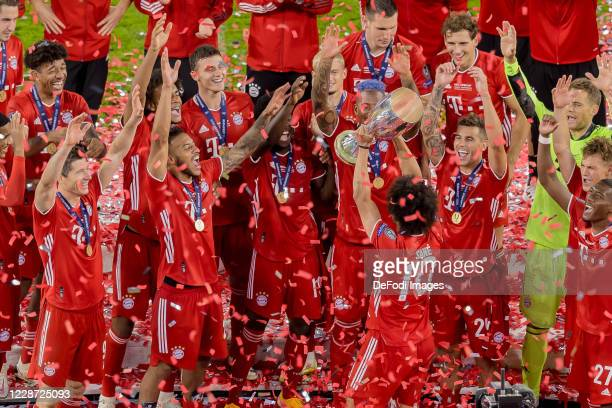 Leroy Sane of Bayern Muenchen cheers after winning the Supercup after the UEFA Super Cup match between FC Bayern Munich and FC Sevilla at Puskas...