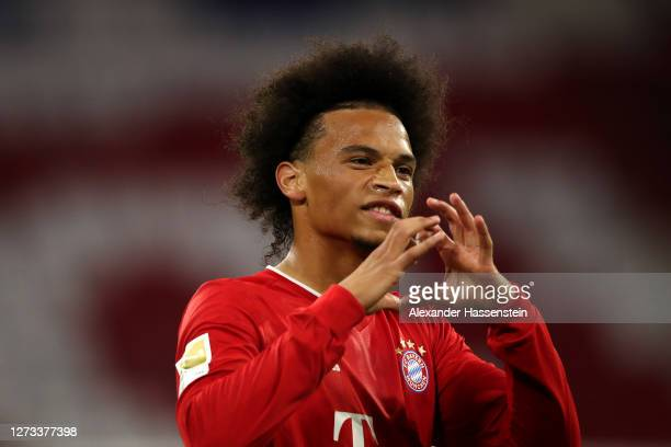 Leroy Sane of Bayern Munich celebrates after he scores his teams seventh goal during the Bundesliga match between FC Bayern Muenchen and FC Schalke...