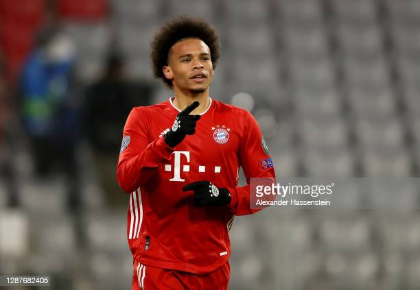 Leroy Sane of Bayern Munich celebrates after scoring their team's third goal during the UEFA Champions League Group A stage match between FC Bayern...