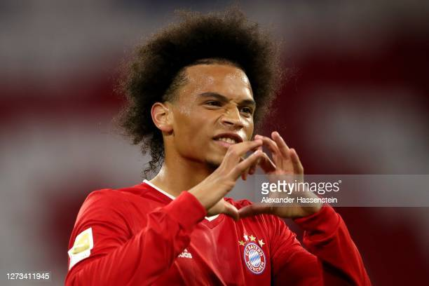 Leroy Sane of Bayern Munich celebrates scoring the 7th goal during the Bundesliga match between FC Bayern Muenchen and FC Schalke 04 at Allianz Arena...