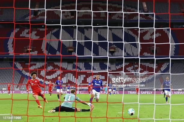 Leroy Sane of Bayern Munich scores the 7th goal during the Bundesliga match between FC Bayern Muenchen and FC Schalke 04 at Allianz Arena on...