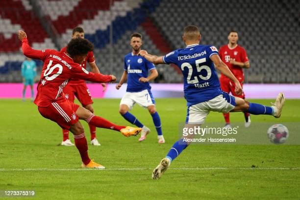 Leroy Sane of Bayern Munich shoots on goal during the Bundesliga match between FC Bayern Muenchen and FC Schalke 04 at Allianz Arena on September 18,...