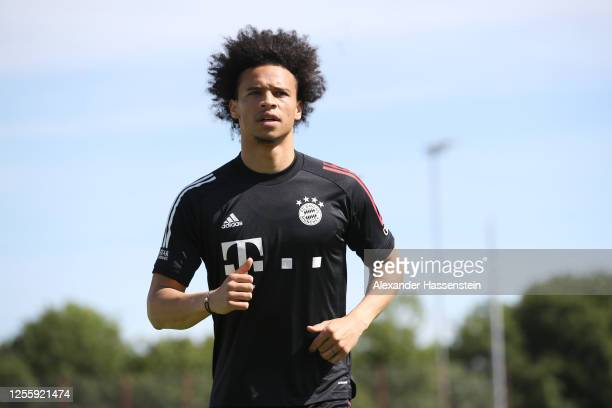 Leroy Sane of FC Bayern Muenchen runs during a training session at Saebener Strasse training ground on July 13, 2020 in Munich, Germany.
