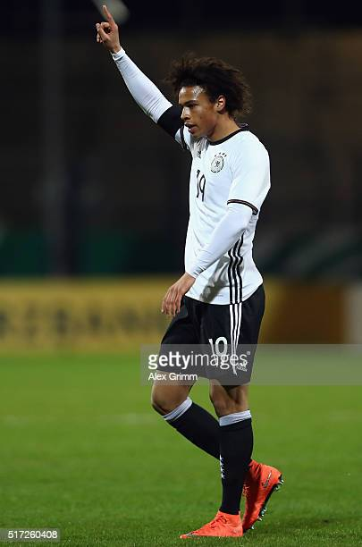 Leroy Sane of Germany celebrates his team's first goal during the 2017 UEFA European U21 Championships qualifier match between Germany U21 and Faroe...