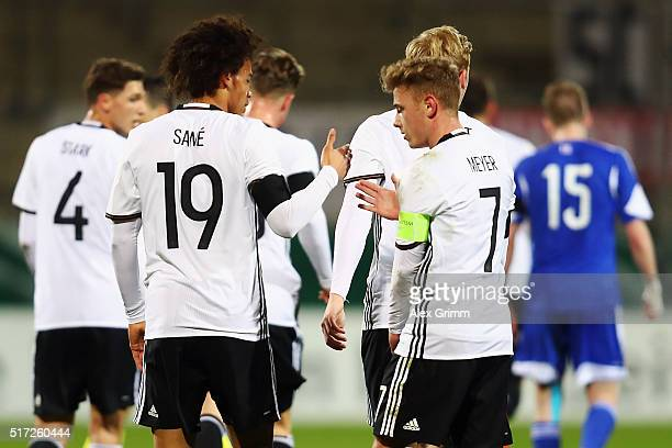 Leroy Sane of Germany celebrates his team's first goal with team mate Max Meyer during the 2017 UEFA European U21 Championships qualifier match...