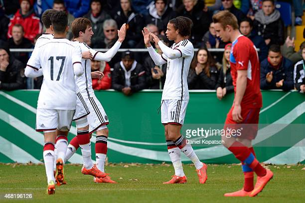 Leroy Sane of Germany celebrates his team's first goal with team mates during the UEFA Under19 Elite Round match between Germany and Czech Republic...