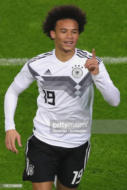 Leroy Sane of Germany celebrates scoring the opening goal during the International Friendly match between Germany and Russia at Red Bull Arena on...