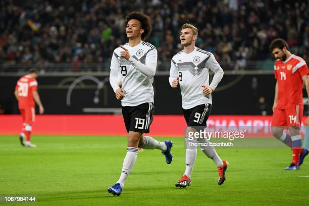 Leroy Sane of Germany celebrates with teammate after scoring his team's first goal during the International Friendly match between Germany and Russia...