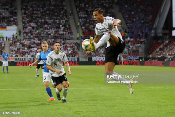 Leroy Sane of Germany controls the ball before scoring his team's second goal during the UEFA Euro 2020 Qualifier match between Germany and Estonia...