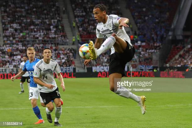 Leroy Sane of Germany controls the ball during the UEFA Euro 2020 Qualifier match between Germany and Estonia at Opel Arena on June 11 2019 in Mainz...