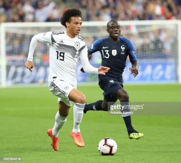 Leroy Sane of Germany in action during the UEFA Nations League A Group 1 match between France and Germany at Stade de France in SaintDenis north of...
