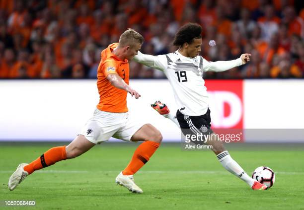 Leroy Sane of Germany is challenged by Matthijs de Ligt of the Netherlands during the UEFA Nations League A group one match between Netherlands and...