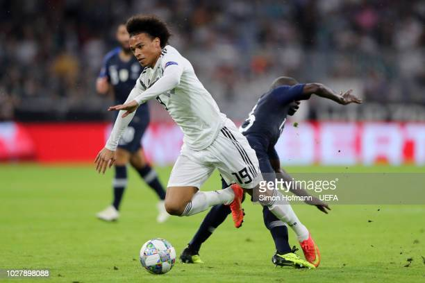 Leroy Sane of Germany is challenged by N'Golo Kante of France during the UEFA Nations League Group A match between Germany and France at Allianz...