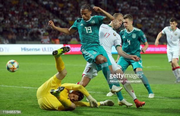 Leroy Sane of Germany is challenged by Nikita Naumov and Aleksandr Gutor of Belarus during the UEFA Euro 2020 qualifier match between Belarus and...