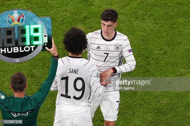 Leroy Sane of Germany, Kai Havertz of Germany during the UEFA Euro 2020 match between France and Germany at Allianz Arena on June 15, 2021 in Munich,...