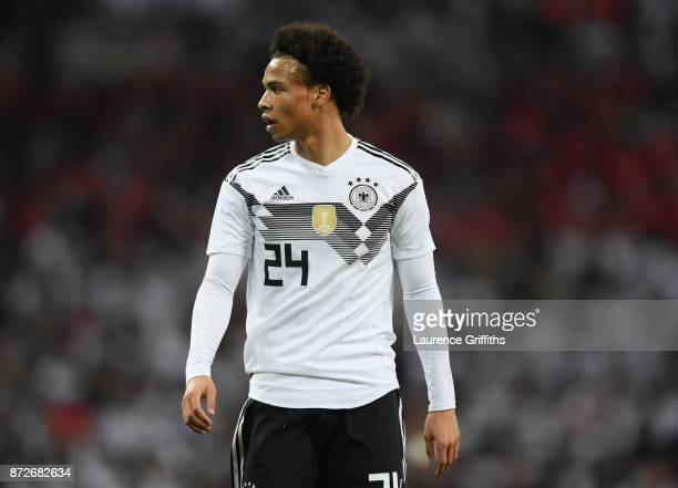 Leroy Sane of Germany looks on during the International Friendly between England and Germany at Wembley Stadium on November 10 2017 in London England