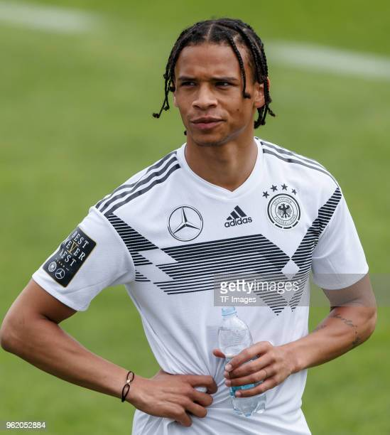 Leroy Sane of Germany looks on during the Southern Tyrol Training Camp day two on May 24 2018 in Bolzano Italy