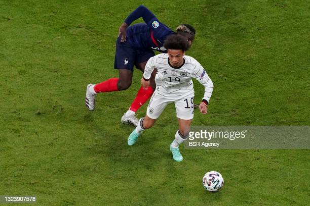 Leroy Sane of Germany, Paul Pogba of France during the UEFA Euro 2020 match between France and Germany at Allianz Arena on June 15, 2021 in Munich,...