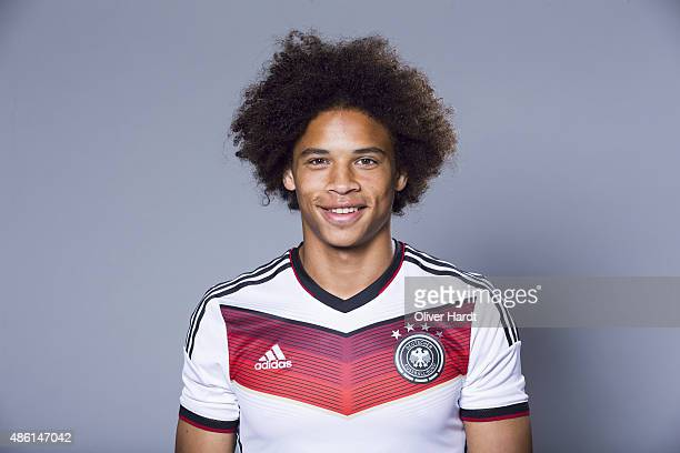 Leroy Sane of Germany poses during the team presentation of Germany U21on August 31 2015 in Hamburg Germany
