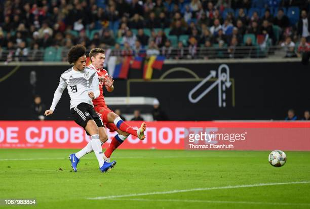 Leroy Sane of Germany scores his team's first goal during the International Friendly match between Germany and Russia at Red Bull Arena on November...