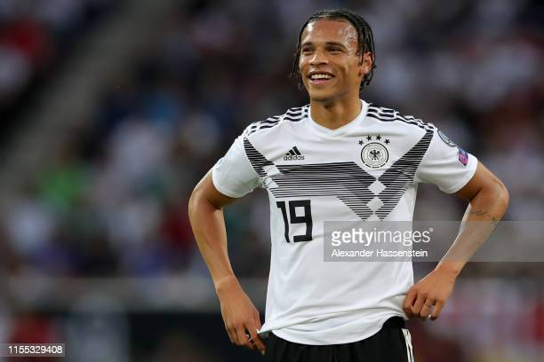 Leroy Sane of Germany smiles during the UEFA Euro 2020 Qualifier match between Germany and Estonia at Opel Arena on June 11, 2019 in Mainz, Germany.