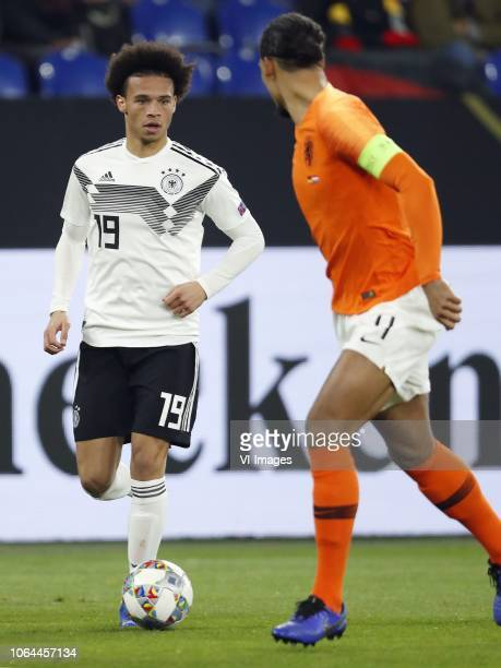 Leroy Sane of Germany Virgil van Dijk of Holland during the UEFA Nations League A group 1 qualifying match between Germany and The Netherlands at the...