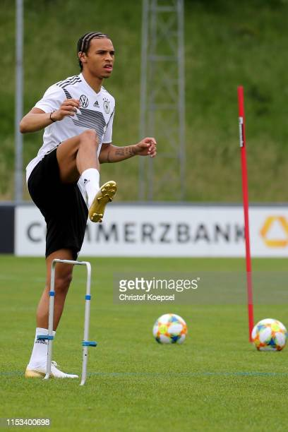 Leroy Sane of Germany warms up during a training session ahead of their UEFA European Championship Qualifier match against Belarus at Stadion de Koel...
