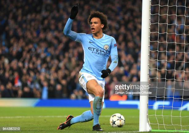 Leroy Sane of Man City holds up a hand to protest the controversial decision that his goal was offside during the UEFA Champions League Quarter Final...