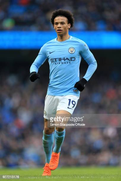 Leroy Sane of Man City in action during the Premier League match between Manchester City and Chelsea at the Etihad Stadium on March 4 2018 in...