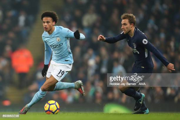 Leroy Sane of Manchester City and Christian Eriksen of Tottenham Hotspur during the Premier League match between Manchester City and Tottenham...