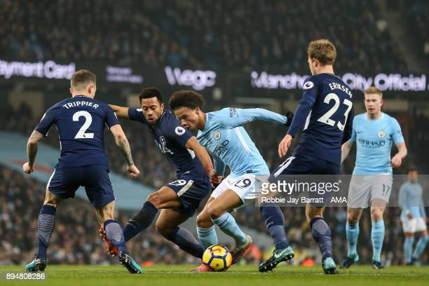 Leroy Sane of Manchester City and Mousa Dembele of Tottenham Hotspur during the Premier League match between Manchester City and Tottenham Hotspur at...