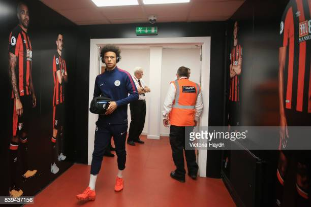 Leroy Sane of Manchester City arrives at the stadium prior to the Premier League match between AFC Bournemouth and Manchester City at Vitality...