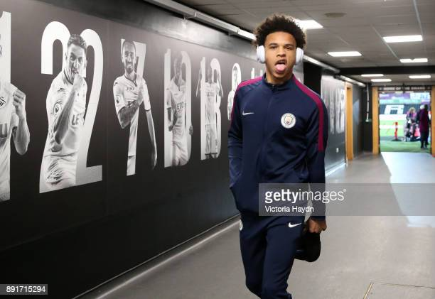 Leroy Sane of Manchester City arrives at the stadium prior to the Premier League match between Swansea City and Manchester City at Liberty Stadium on...