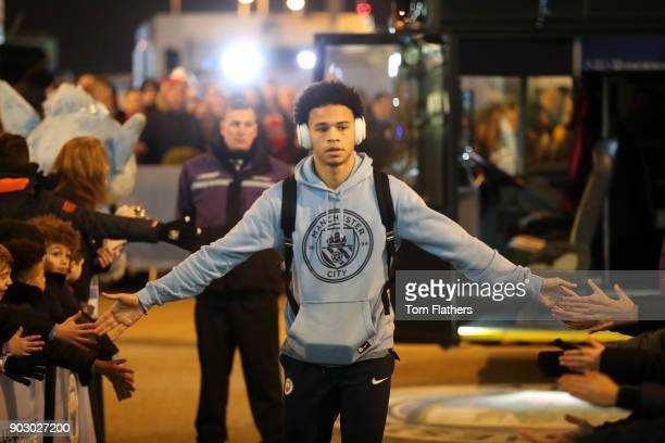 Leroy Sane of Manchester City arrives prior to the Carabao Cup SemiFinal First Leg match between Manchester City and Bristol City at Etihad Stadium...