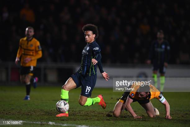 Leroy Sane of Manchester City breaks with the ball during the FA Cup Fifth Round match between Newport County AFC and Manchester City at Rodney...