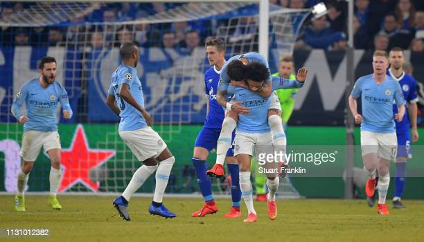 Leroy Sane of Manchester City celebrate with his team mates after he scores the 2nd goal for his team during the UEFA Champions League Round of 16...