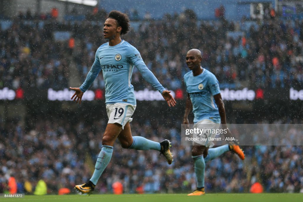Leroy Sane of Manchester City celebrates after scoring a goal to make it 5-0 during the Premier League match between Manchester City and Liverpool at Etihad Stadium on September 9, 2017 in Manchester, England.