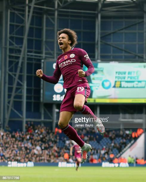 Leroy Sane of Manchester City celebrates after scoring a goal to make it 01 during the Premier League match between West Bromwich Albion and...