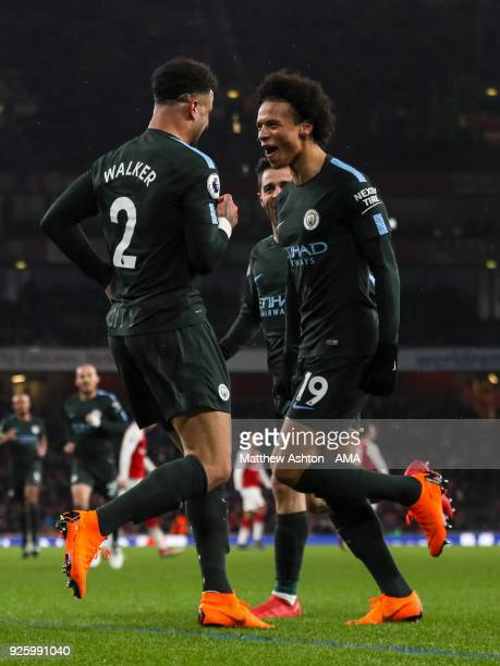 Leroy Sane of Manchester City celebrates after scoring a goal to make it 03 during the Premier League match between Arsenal and Manchester City at...