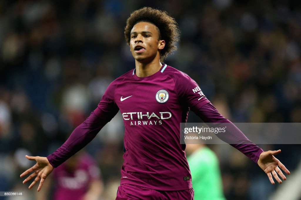 Leroy Sane of Manchester City celebrates after scoring during the Carabao Cup Third Round match between West Bromwich Albion and Manchester City at The Hawthorns September 20, 2017 in West Bromwich, England.
