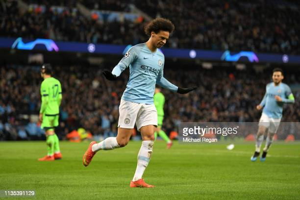 Leroy Sane of Manchester City celebrates after scoring his sides third goal during the UEFA Champions League Round of 16 Second Leg match between...